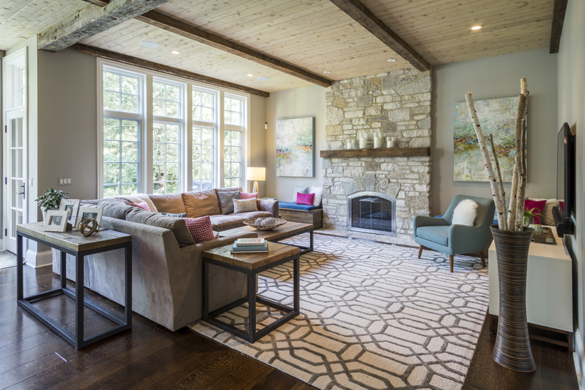 Rustic Modern Living Room & Chicago Interior Design : Rustic Modern Residence : Mia Rao Design